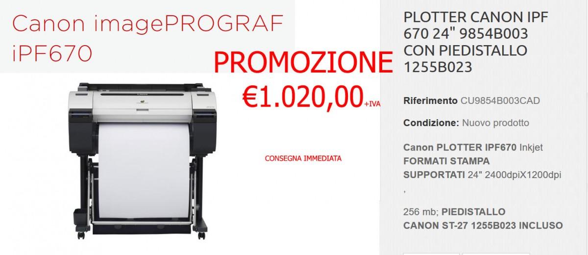promozione Plotter Canon IPF 670